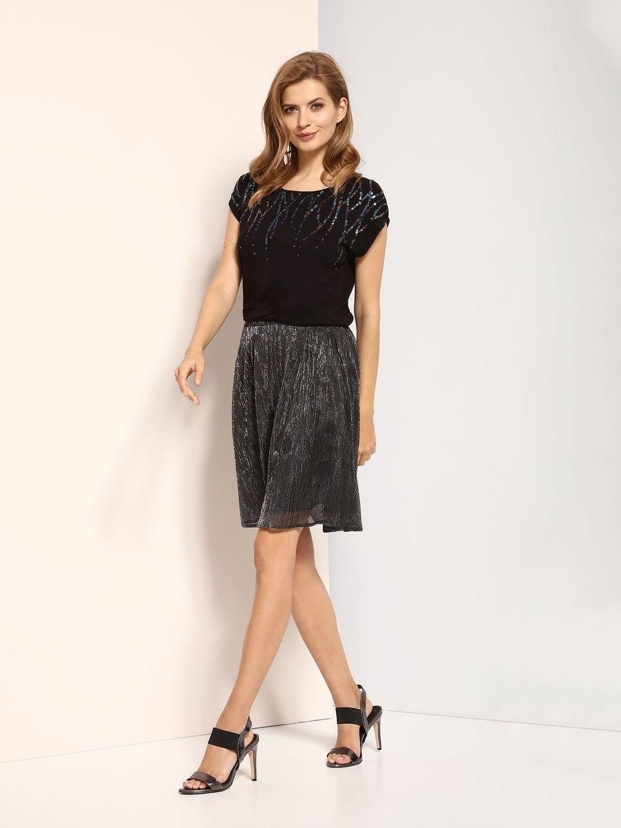 Блузка женская Top Secret, цвет: черный. SBW0320CA. Размер 42 (50)SBW0320CAБлузка женская Top Secret выполнена из вискозы. Модель с круглым вырезом горловины и короткими рукавами.