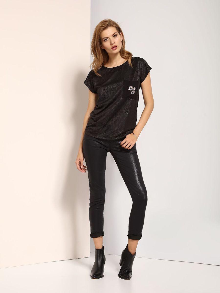 Блузка женская Top Secret, цвет: черный. SBW0319CA. Размер 40 (48)SBW0319CAБлузка женская Top Secret выполнена из полиэстера. Модель с круглым вырезом горловины и короткими рукавами.