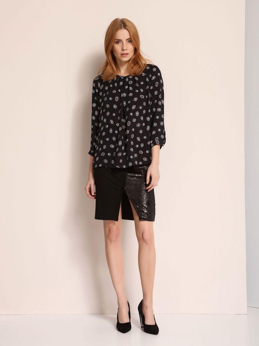 Блузка женская Top Secret, цвет: черный. SBD0656CA. Размер 42 (50)SBD0656CAБлузка женская Top Secret выполнена из вискозы. Модель с круглым вырезом горловины и длинными рукавами.