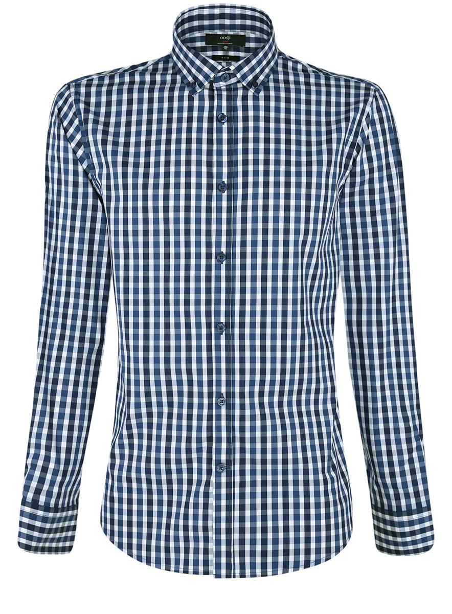 Рубашка мужская oodji Lab, цвет: темно-синий, белый. 3L110214M/39767N/7910C. Размер 40-182 (48-182)3L110214M/39767N/7910CМужская рубашка от oodji выполнена из натурального хлопка. Модель приталенного кроя с длинными рукавамизастегивается на пуговицы.