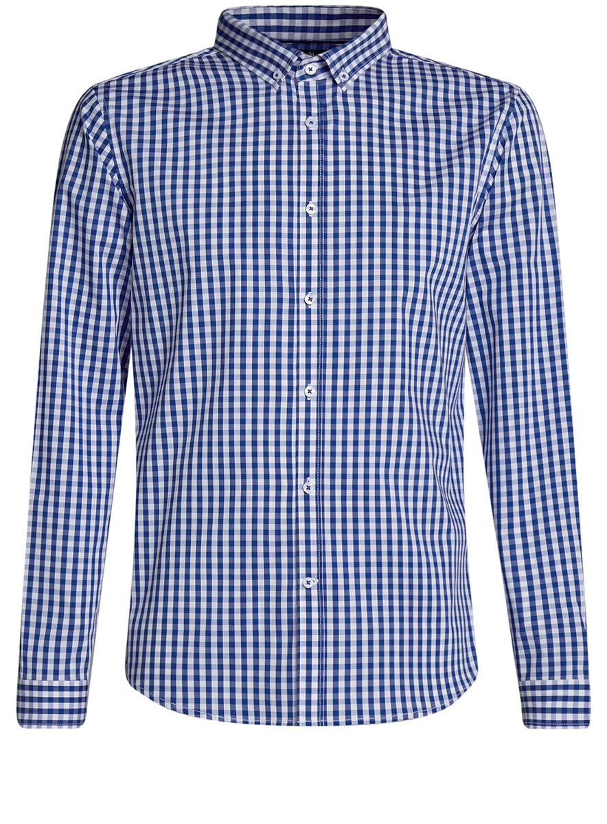 Рубашка мужская oodji Lab, цвет: белый, синий. 3L110135M/39767N/1075C. Размер 40-182 (48-182)3L110135M/39767N/1075CМужская рубашка oodji Lab выполнена из комбинированного материала. Модель с отложным воротником и длинными рукавами застегивается на пуговицы.