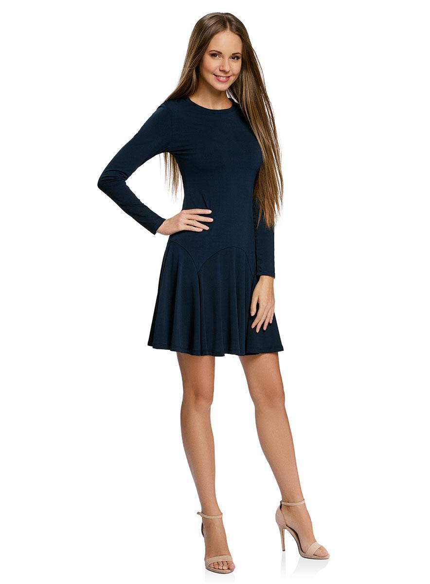 Платье oodji Ultra, цвет: темно-синий. 14011015/46384/7900N. Размер M (46-170)14011015/46384/7900NПриталенное платье oodji Ultra с расклешенной юбкой выполнено из качественного трикотажа. Модель средней длины с круглым вырезом горловины и длинными рукавами застегивается на скрытую молнию на спинке.