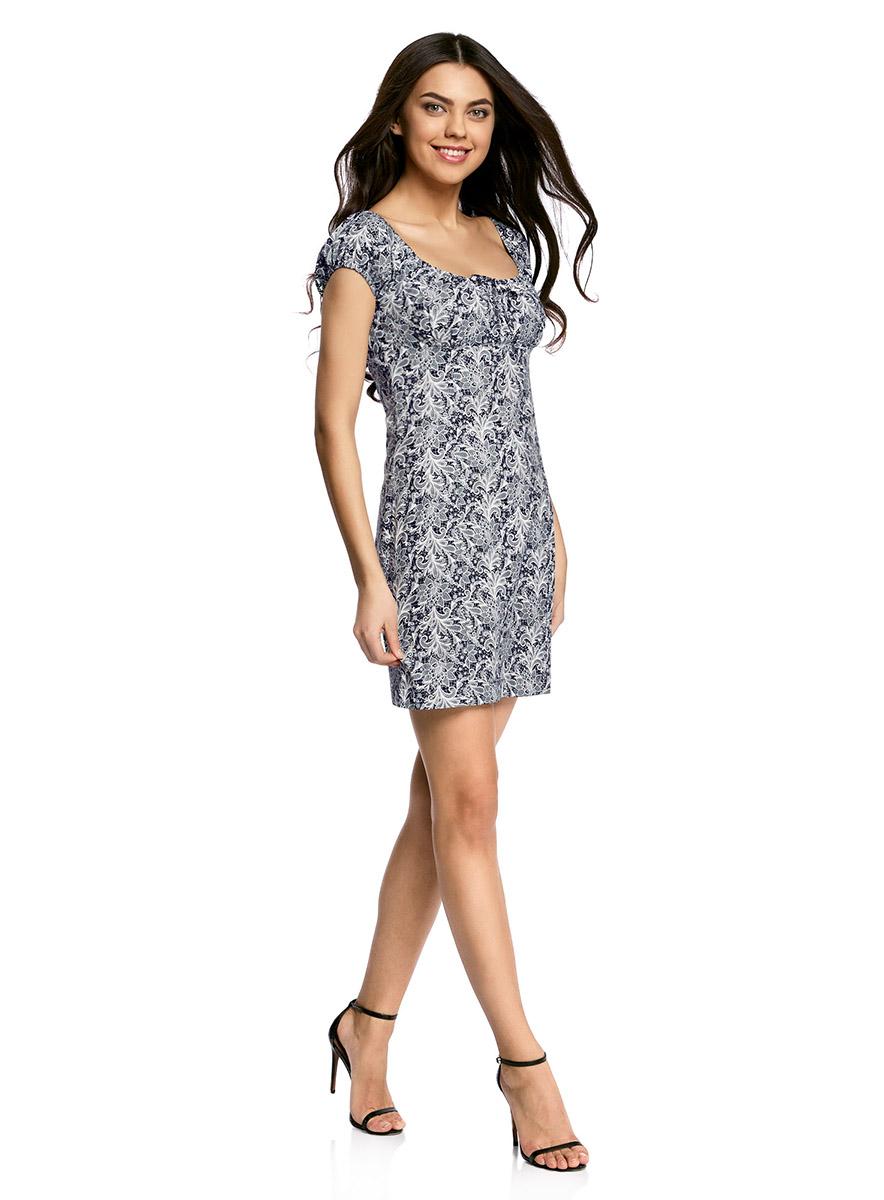 Платье oodji Ultra, цвет: темно-синий, белый. 11902047-2B/14885/7912L. Размер 38-170 (44-170)11902047-2B/14885/7912LЖенственное платье oodji Ultra выполнено из хлопка с добавлением эластана. Приталенная модель с круглым вырезом горловины и короткими рукавами-реглан застегивается сбоку на скрытую молнию. Вырез горловины и края рукавов дополнены кулиской с резинкой.