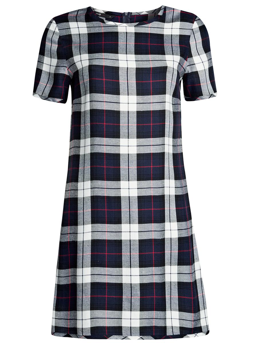 Платье oodji Ultra, цвет: темно-синий, белый клетка. 11901154/45208/7912C. Размер 34-170 (40-170)11901154/45208/7912CСтильное платье oodji Ultra прямого кроя выполнено из вискозы и оформлено принтом в крупную клетку. Модель мини-длины с круглым вырезом горловиныи короткими рукавами застегивается на скрытую молнию на спинке.