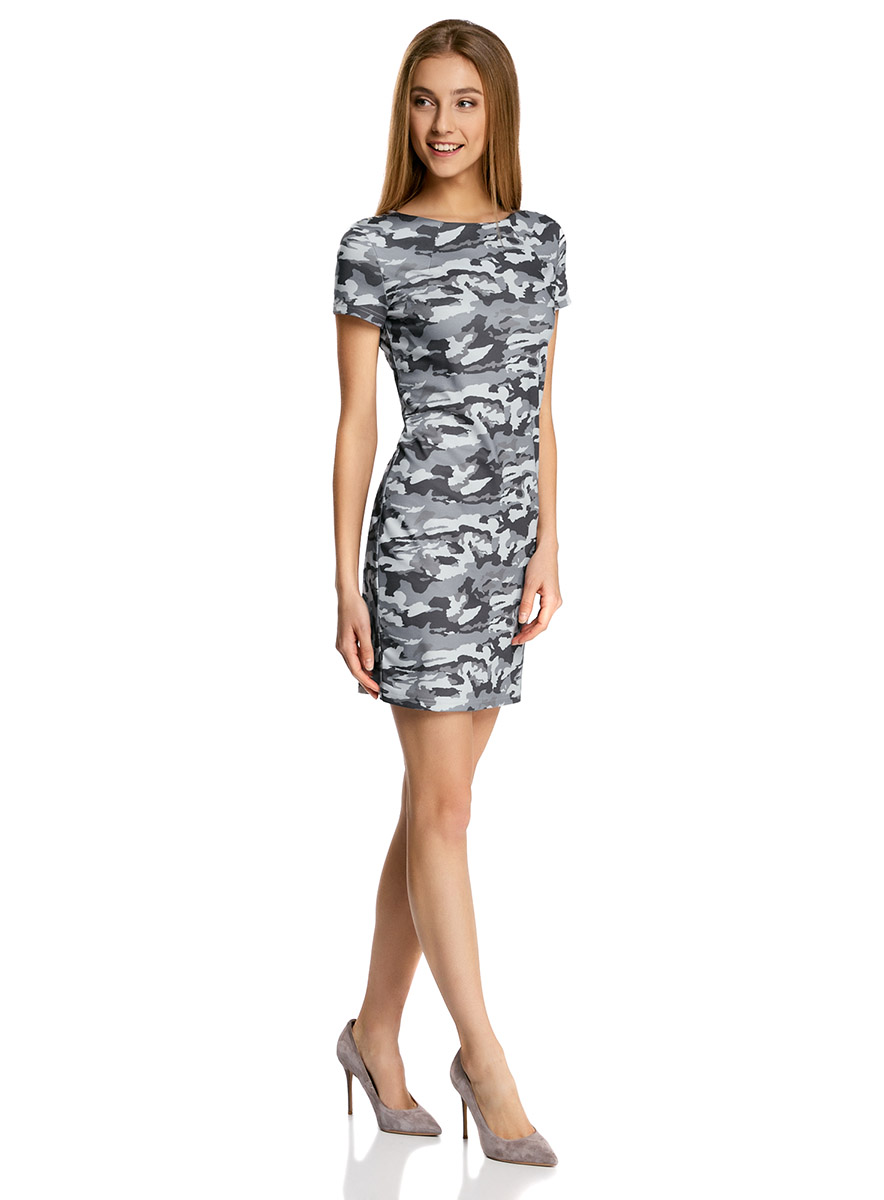 Платье oodji Ultra, цвет: темно-серый, серый. 14001177/18610/2523O. Размер XXS (40-170)14001177/18610/2523OПриталенное платье oodji Ultra, выгодно подчеркивающее достоинства фигуры, выполнено из качественного трикотажа и оформлено декоративными металлическими пластинками на плечах. Модель мини-длины с круглым вырезом горловины и короткими рукавами застегивается на короткую металлическую молнию на спинке.