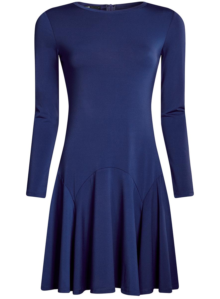 Платье oodji Ultra, цвет: синий. 14011015/46384/7500N. Размер XS (42-170)14011015/46384/7500NПриталенное платье oodji Ultra с расклешенной юбкой выполнено из качественного трикотажа. Модель средней длины с круглым вырезом горловины и длинными рукавами застегивается на скрытую молнию на спинке.