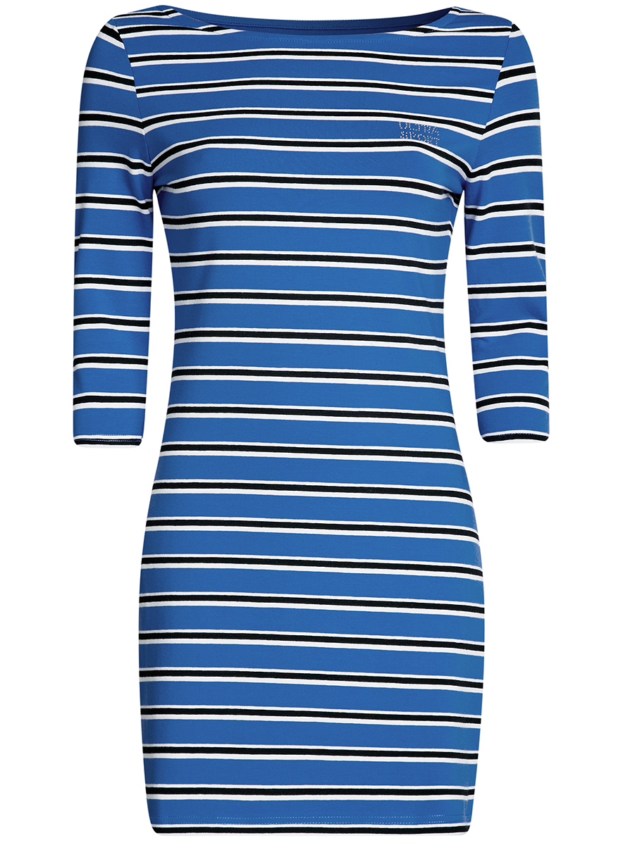 Платье oodji Ultra Sport, цвет: синий, черный. 14001071-10/46148/7529S. Размер XXS (40-170)14001071-10/46148/7529SСтильное облегающее платье oodji Ultra Sport, выполненное из эластичного хлопка, отлично дополнит ваш гардероб. Модель мини-длины с вырезом лодочкой и рукавами 3/4 оформлена принтом в полоску и надписью из страз Ultra Sport.