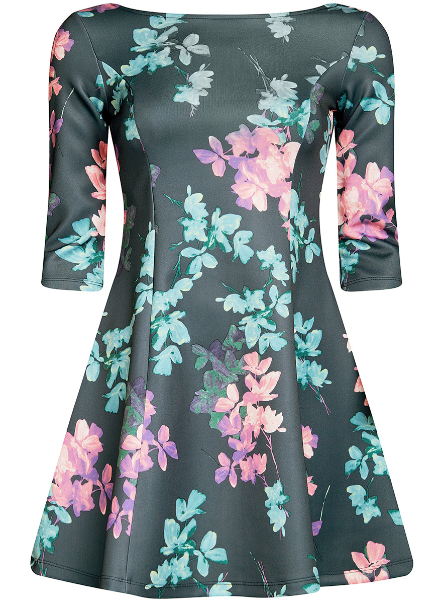Платье oodji Ultra, цвет: темно-зеленый, бирюзовый. 14001150-3/33038/7683F. Размер XS (42)14001150-3/33038/7683FСтильное платье oodji Ultra, выполненное из качественного полиэстера с небольшим добавлением эластана, отлично дополнит ваш гардероб. Модель-мини с круглым вырезом горловины и стандартными рукавами 3/4 оформлена оригинальным цветочным принтом.