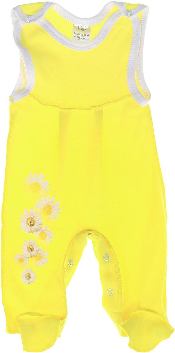 Комбинезон для девочки КотМарКот, цвет: лимонный. 5362. Размер 80, 9-12 месяцев5362Комбинезон для девочки КотМарКот - удобный и практичный вид одежды для ребенка, который идеально подходит для сна и отдыха. Комбинезон выполнен из натурального хлопка, благодаря чему он очень мягкий и приятный на ощупь, не раздражает нежную кожу малышки и хорошо вентилируется. Комбинезон с широкими бретелями на кнопках и закрытыми ножками имеет застежки-кнопки на ластовице до щиколоток, которые помогают легко переодеть младенца или сменить подгузник. Вырез горловины и проймы дополнены мягкой бейкой. Изделие оформлено ромашками с блестками. Комфортный и уютный комбинезон станет незаменимым дополнением к гардеробу вашей маленькой принцессы. Изделие полностью соответствует особенностям жизни младенца в ранний период, не стесняя и не ограничивая его в движениях.