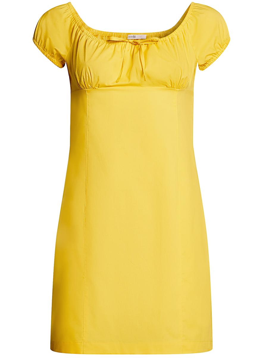 Платье oodji Ultra, цвет: лимонный. 11902047-2B/14885/5100N. Размер 40-170 (46-170)11902047-2B/14885/5100NЖенственное платье oodji Ultra выполнено из хлопка с добавлением эластана. Приталенная модель с круглым вырезом горловины и короткими рукавами-реглан застегивается сбоку на скрытую молнию. Вырез горловины и края рукавов дополнены кулиской с резинкой.