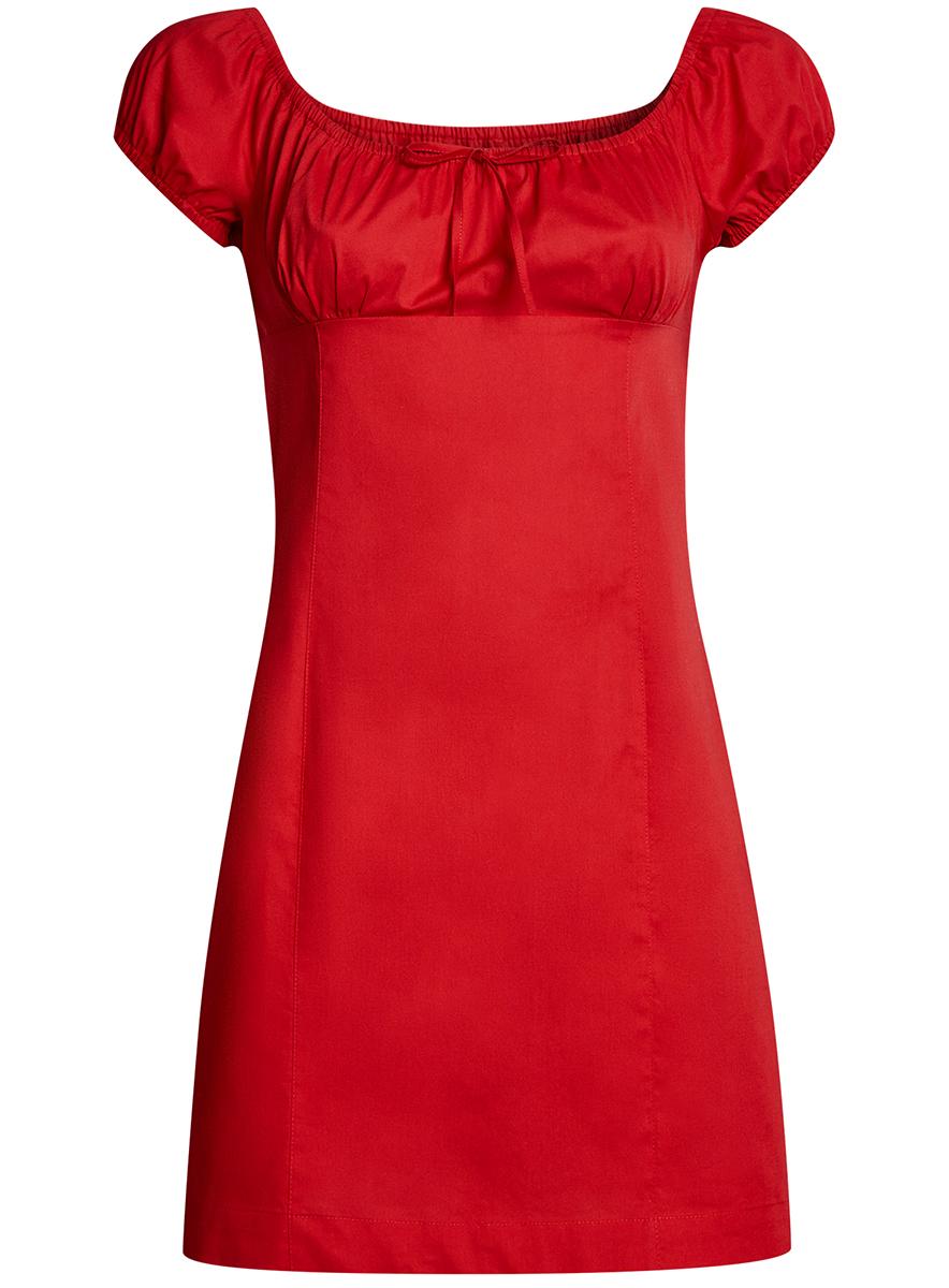 Платье oodji Ultra, цвет: красный. 11902047-2B/14885/4502N. Размер 34-170 (40-170)11902047-2B/14885/4502NЖенственное платье oodji Ultra выполнено из хлопка с добавлением эластана. Приталенная модель с круглым вырезом горловины и короткими рукавами-реглан застегивается сбоку на скрытую молнию. Вырез горловины и края рукавов дополнены кулиской с резинкой.