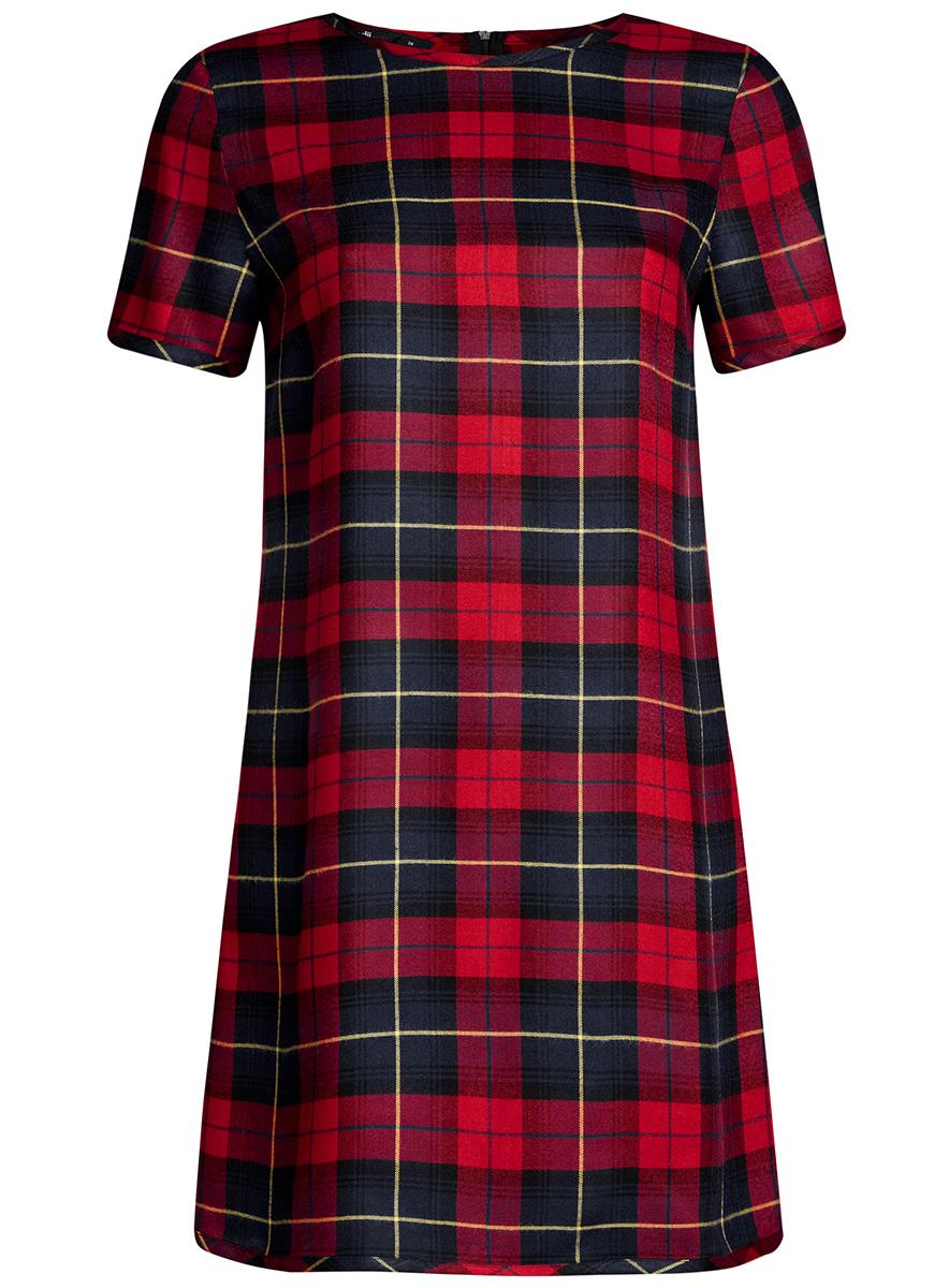 Платье oodji Ultra, цвет: красный, темно-синий клетка. 11901154/45208/4579C. Размер 36-170 (42-170)11901154/45208/4579CСтильное платье oodji Ultra прямого кроя выполнено из вискозы и оформлено принтом в крупную клетку. Модель мини-длины с круглым вырезом горловиныи короткими рукавами застегивается на скрытую молнию на спинке.
