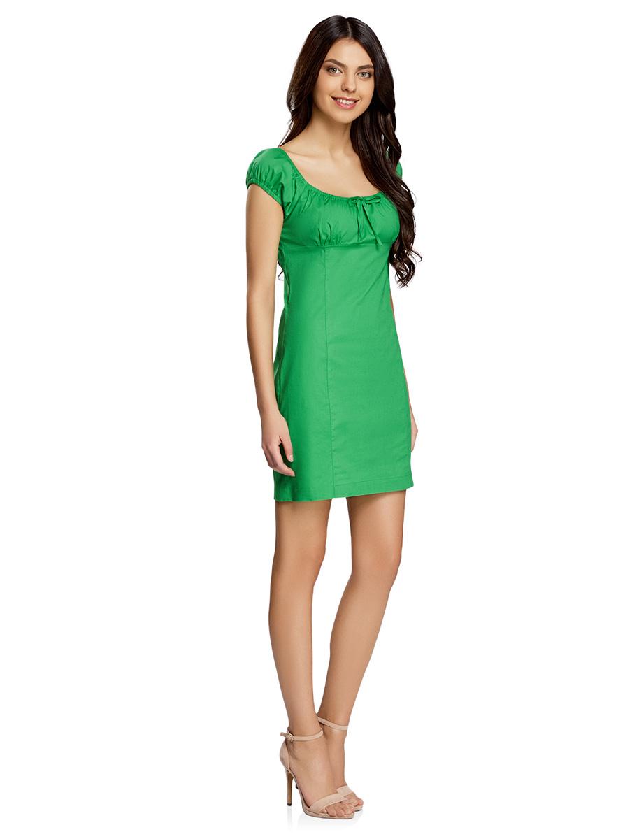 Платье oodji Ultra, цвет: зеленый. 11902047-2B/14885/6A00N. Размер 38-170 (44-170)11902047-2B/14885/6A00NЖенственное платье oodji Ultra выполнено из хлопка с добавлением эластана. Приталенная модель с круглым вырезом горловины и короткими рукавами-реглан застегивается сбоку на скрытую молнию. Вырез горловины и края рукавов дополнены кулиской с резинкой.
