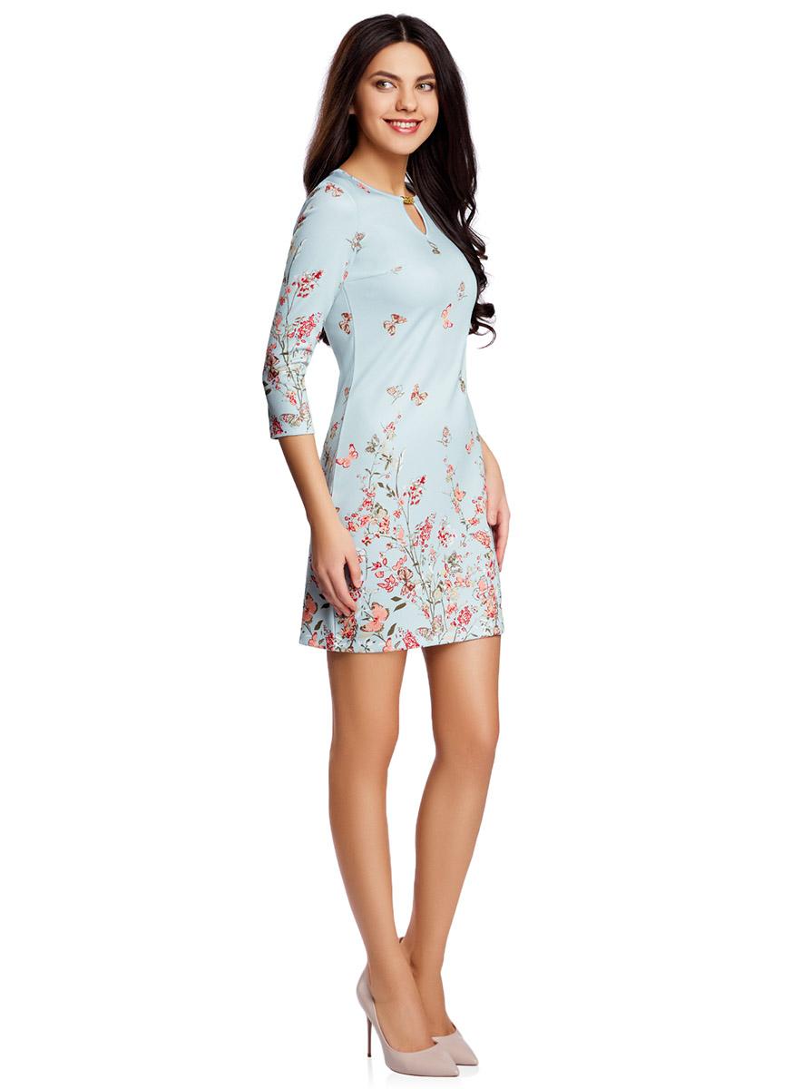 Платье oodji Ultra, цвет: голубой, коралловый. 14001173/45344/7043F. Размер S (44-170)14001173/45344/7043FПриталенное платье oodji Ultra, выгодно подчеркивающее достоинства фигуры, выполнено из качественного трикотажа в мелкий рубчик. Модель мини-длины с рукавами оформлено ярким цветочным принтом с бабочками. Круглый вырез горловины дополнен вырезом-капелькой с металлическим украшением.