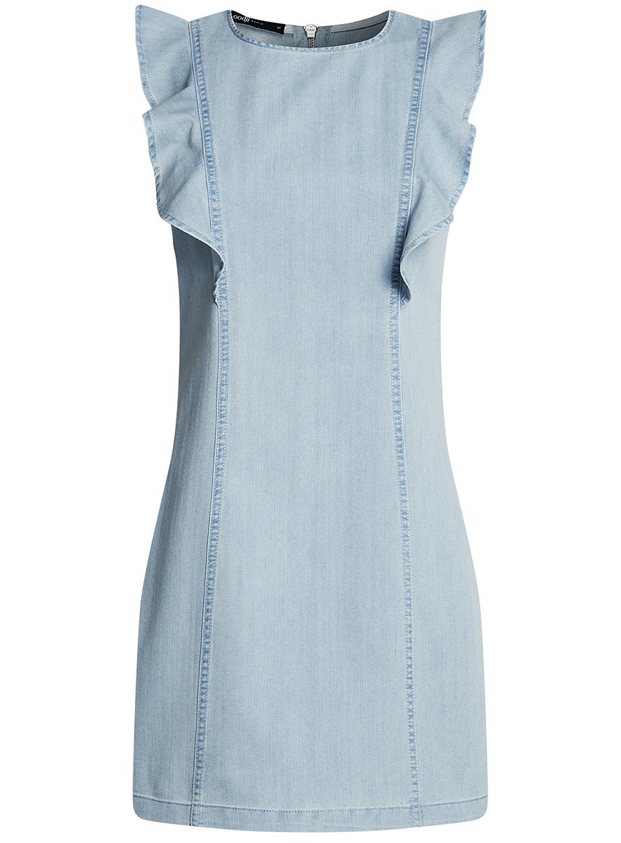 Платье oodji Ultra, цвет: голубой. 12909045/18361/7000W. Размер 42-170 (48-170)12909045/18361/7000WДжинсовое платье oodji Ultra выполнено из качественного материала и оформлено вертикальными воланами. Приталенная модель мини-длины с открытыми плечами застегивается на металлическую молнию на спинке.