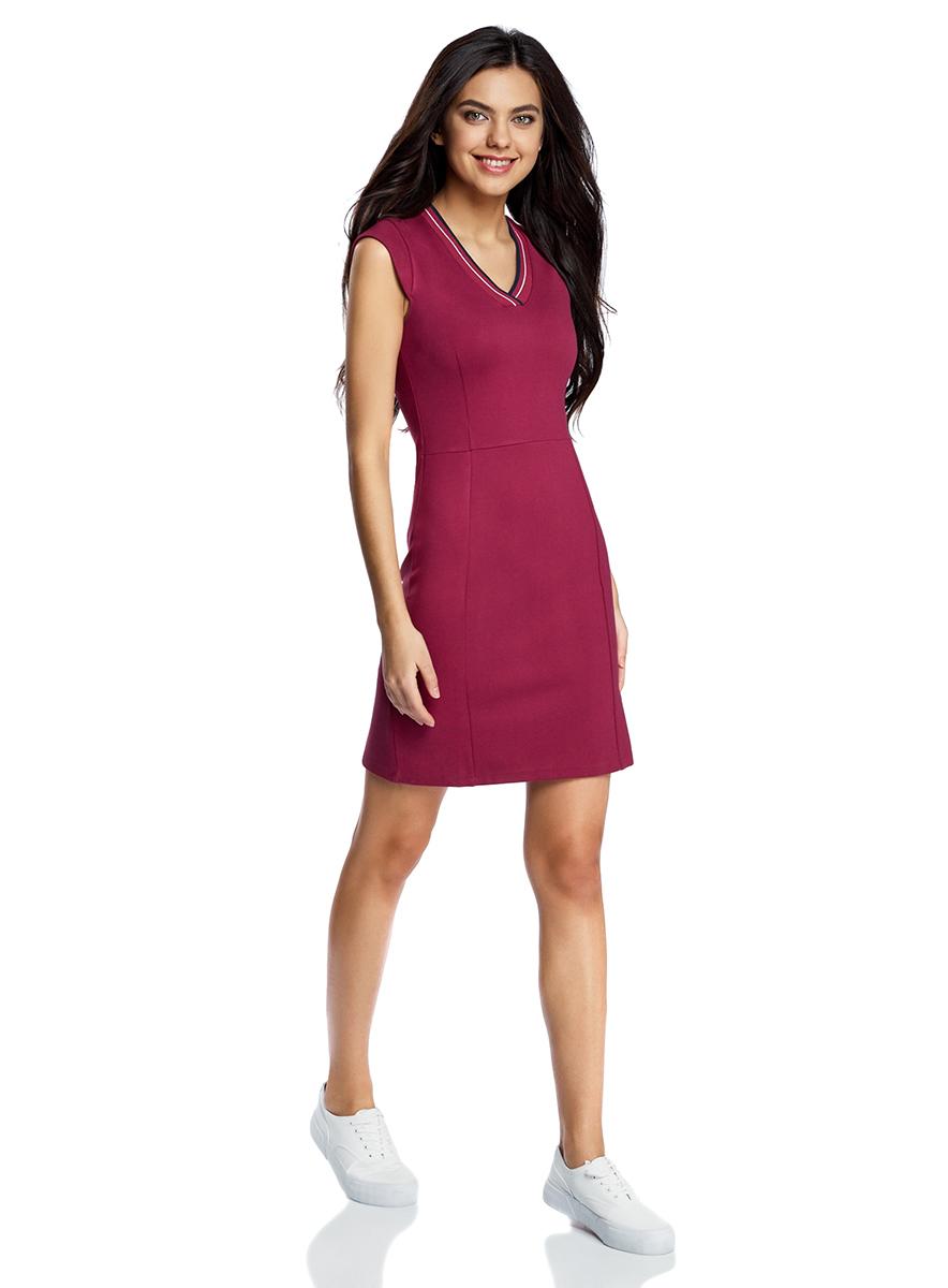 Платье oodji Ultra, цвет: бордовый. 14011014/45248/4900N. Размер S (44-170)14011014/45248/4900NОблегающее платье oodji Ultra, выполненное из плотного трикотажа, выгодно подчеркнет достоинства фигуры. Модель мини-длины с рукавами-крылышками имеет V-образный вырез горловины, дополненный трикотажной резинкой с контрастными полосками.