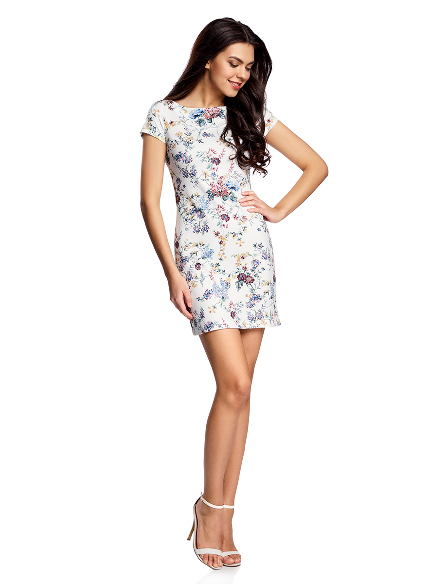 Платье oodji Ultra, цвет: белый. 14001117-12B/42588/1019F. Размер S (44-170)14001117-12B/42588/1019FСтильное платье oodji Ultra с вырезом-лодочкой выполнено из плотного фактурного трикотажа в рубчик. Модель облегающего кроя мини-длины выгодно подчеркивает достоинства фигуры. Изделие не имеет застежек.