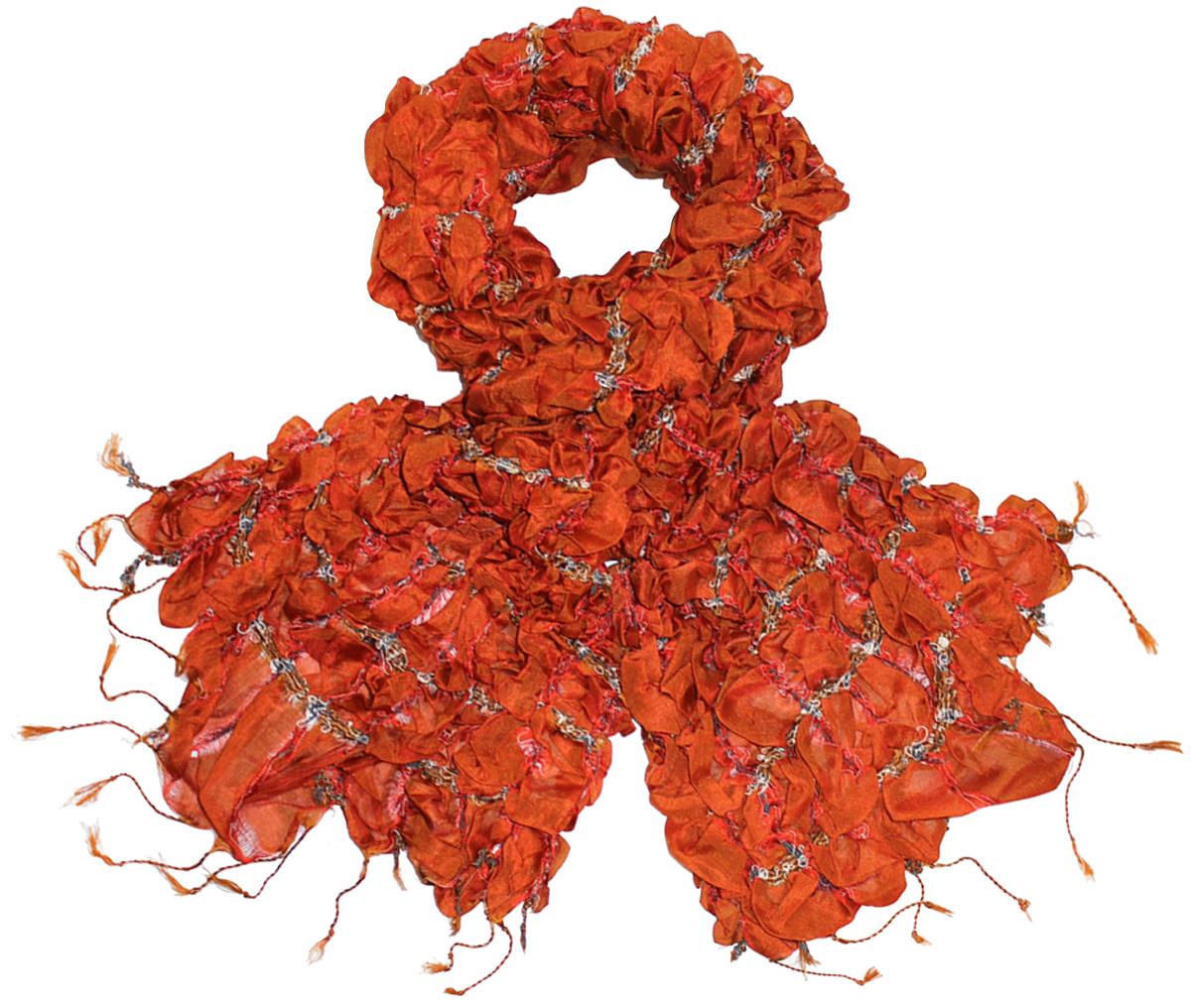 Шарф женский Ethnica, цвет: оранжевый. 511250. Размер 30 см х 160 см511250Женский шарф Ethnica, изготовленный из 100% шелка, подчеркнет вашу индивидуальность. Благодаря своему составу, он легкий, мягкий и приятный на ощупь. Изделие выполнено в оригинальном дизайне и дополнено кисточками.Такой аксессуар станет стильным дополнением к гардеробу современной женщины.