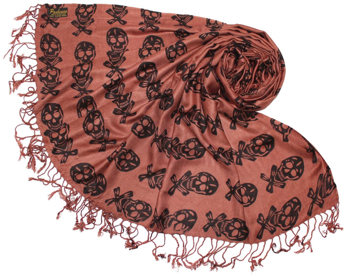 Шарф женский Ethnica, цвет: коричневый. 634075. Размер 70 см х 180 см634075Женский шарф Ethnica, изготовленный из 100% вискозы, подчеркнет вашу индивидуальность. Благодаря своему составу, он легкий, мягкий и приятный на ощупь. Изделие оформлено оригинальным принтом в виде черепов.Такой аксессуар станет стильным дополнением к гардеробу современной женщины.