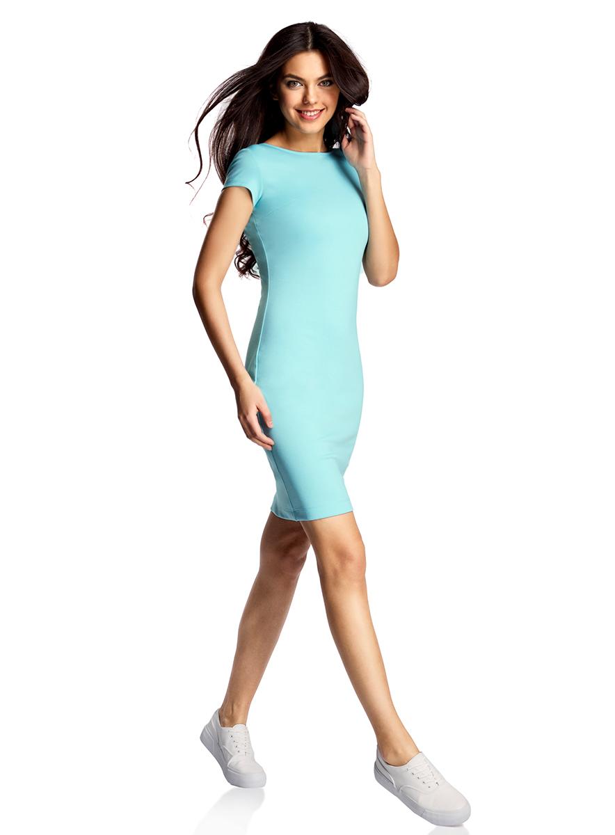 Платье oodji Collection, цвет: бирюзовый. 24001114-1/37809/7300N. Размер M (46-170)24001114-1/37809/7300NОбтягивающее платье oodji Collection, выгодно подчеркивающее достоинства фигуры, выполнено из качественного трикотажа. Модельсредней длины с короткимирукавами дополнена круглым вырезом на спинке.