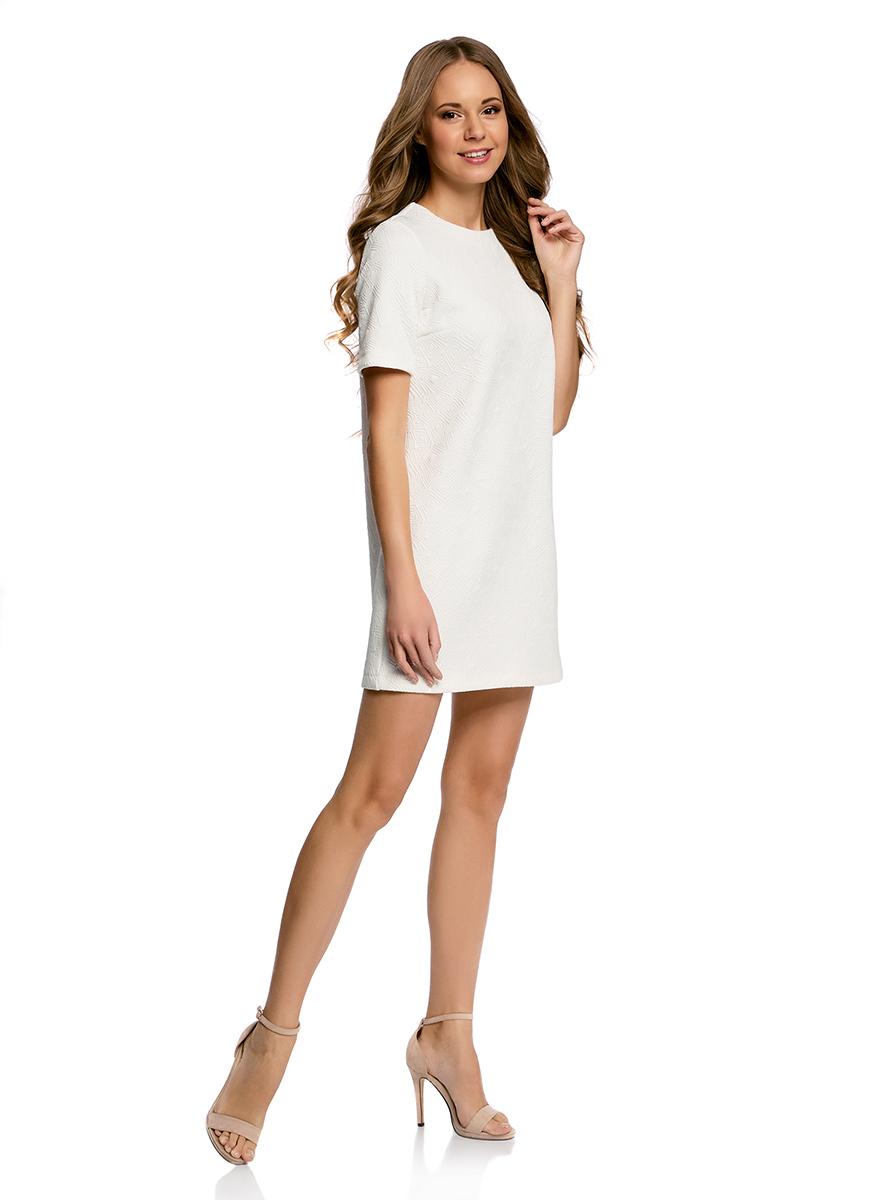 Платье oodji Collection, цвет: белый. 24001110-4/46432/1000N. Размер XS (42-170)24001110-4/46432/1000NЛаконичное платье прямого силуэта oodji Collection выполнено из мягкой фактурной ткани. Модель мини-длины с круглым вырезом горловины и короткими рукавамизастегивается на скрытую молнию на спинке.