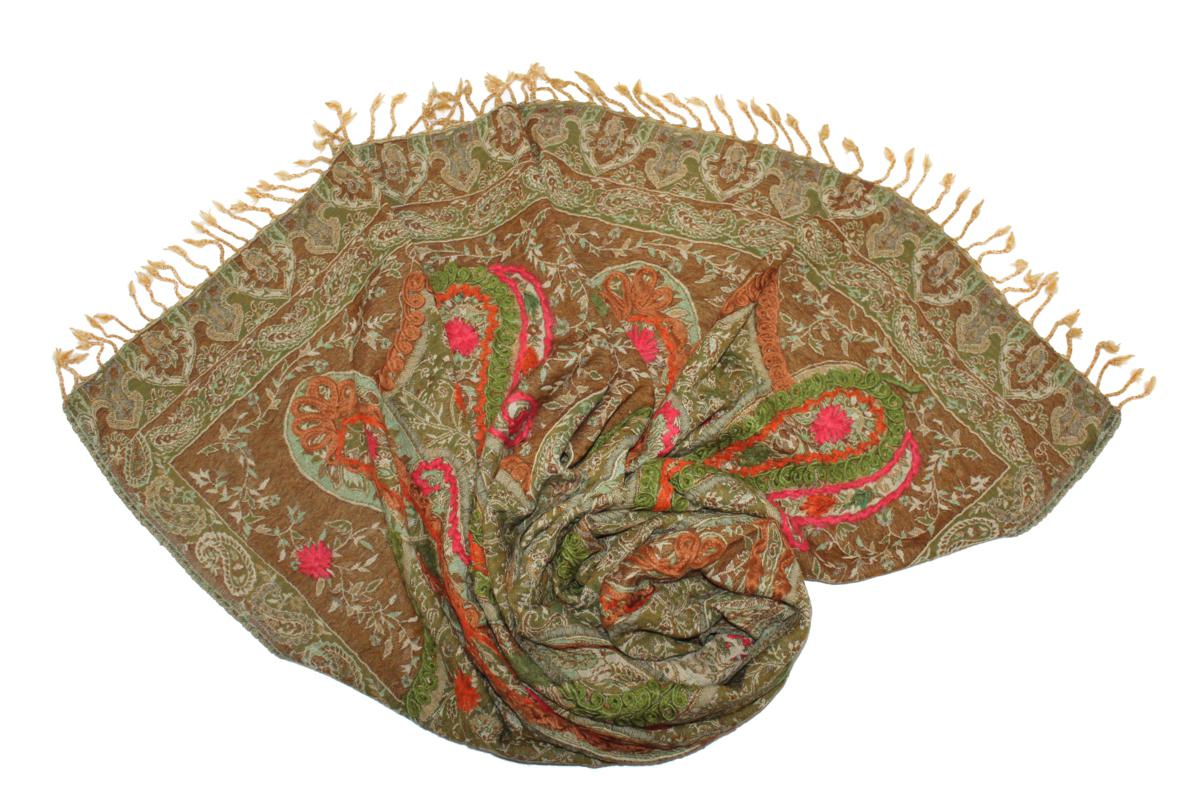 Палантин Ethnica, цвет: коричневый, зеленый, розовый. 569750н. Размер 70 см х 180 см569750н_15Эффектный палантин Ethnica подчеркнет ваш неповторимый образ. Изделие выполнено из 100% шерсти, оформлено оригинальным принтом и вышивкой.Этот модный аксессуар гармонично дополнит ваш образ.
