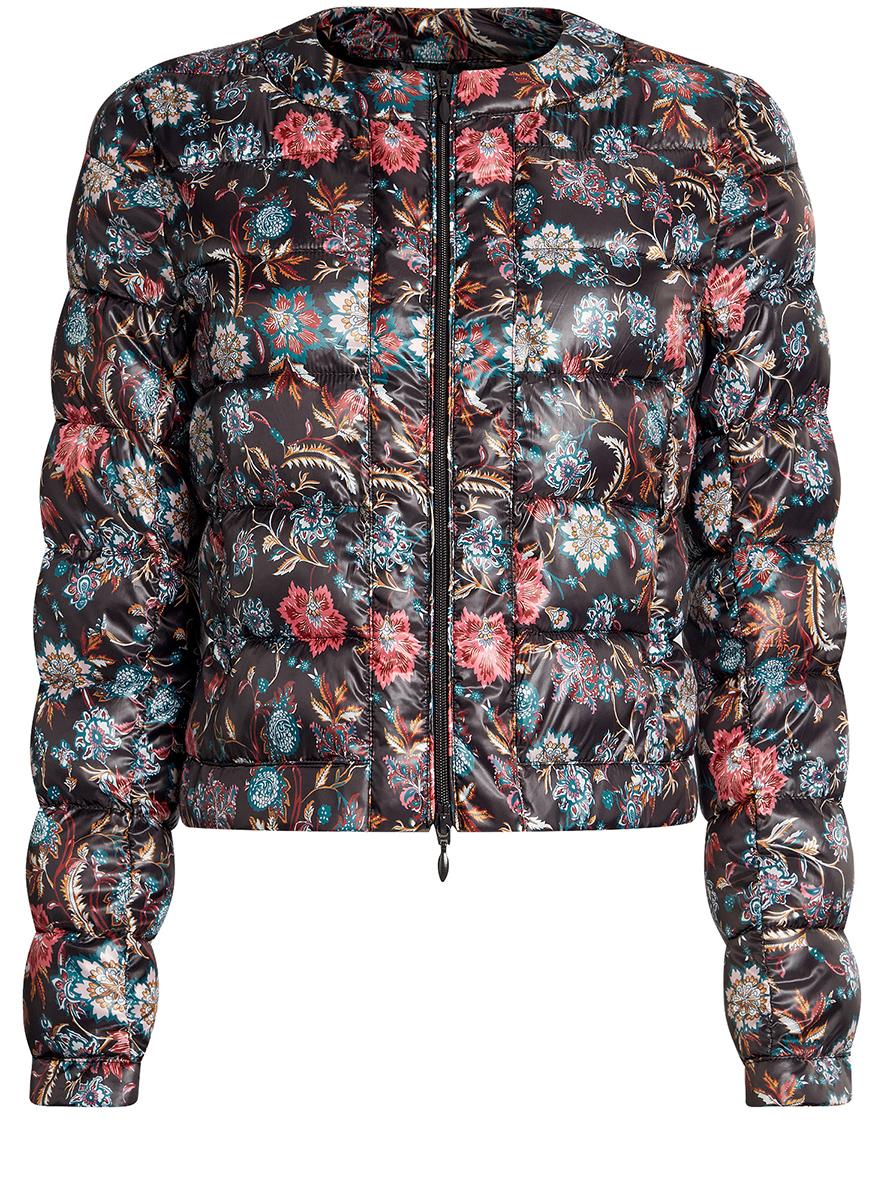 Куртка женская oodji Ultra, цвет: черный, темно-изумрудный. 10203050-1B/42257/296EF. Размер 40-170 (46-170)10203050-1B/42257/296EFСтеганая куртка oodji Ultra выполнена из высококачественного материала. Модель с круглым вырезом горловины утеплена тонким слоем синтепона и застегивается на молнию. Куртка прекрасно смотрится и с платьем и с джинсами, что делает ее незаменимой для городских будней. Манжеты рукавов дополнены застежками кнопками.