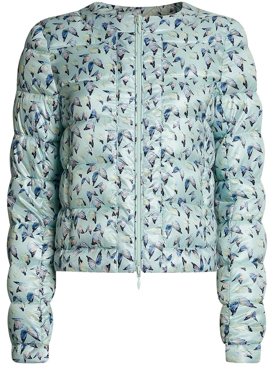 Куртка женская oodji Ultra, цвет: ментол, мультиколор. 10203050-1B/42257/6519A. Размер 42-170 (48-170)10203050-1B/42257/6519AСтеганая куртка oodji Ultra выполнена из высококачественного материала. Модель с круглым вырезом горловины утеплена тонким слоем синтепона и застегивается на молнию. Куртка прекрасно смотрится и с платьем и с джинсами, что делает ее незаменимой для городских будней. Манжеты рукавов дополнены застежками кнопками.