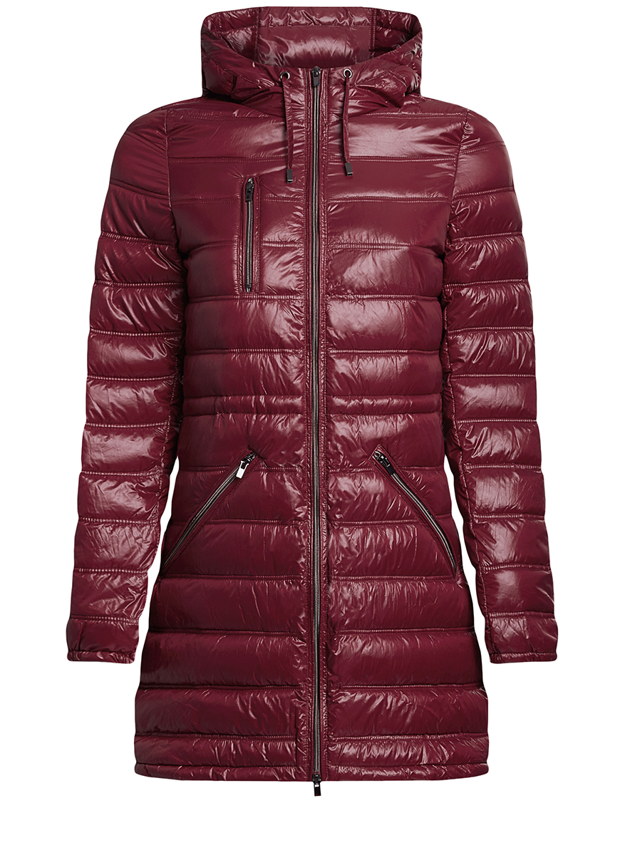 Куртка женская oodji Ultra, цвет: бордовый. 10203056/33445/4900N. Размер 38-170 (44-170)10203056/33445/4900NЖенская куртка oodji Ultra выполнена из 100% полиамида. В качестве подкладки также используется полиамид, а утеплителем служит 100% полиэстер. Модель с несъемным капюшоном застегивается на застежку-молнию с внутренней ветрозащитной планкой. Край капюшона и низ изделия дополнены шнурком-кулиской. Низ рукавов присобран на резинку. Спереди расположено три прорезных кармана на застежках-молниях, один из которых расположен на груди.