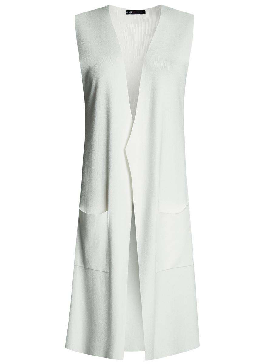 Жилет женский oodji Ultra, цвет: белый. 64512026/33506/1200N. Размер S (44)64512026/33506/1200NТрикотажный длинный жилет oodji изготовлен из качественного смесового материала. Модель без застежки дополнена накладными карманами.