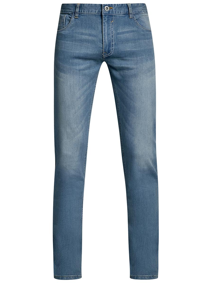 Джинсы мужские oodji Basic, цвет: голубой джинс. 6B120045M/45594/7400W. Размер 30-32 (46/48-32)6B120045M/45594/7400WМужские джинсы oodji Basic выполнены из высококачественного материала. Модель-слим средней посадки по поясу застегивается на пуговицу и имеют ширинку на застежке-молнии, а также шлевки для ремня. Джинсы имеют классический пятикарманный крой: спереди - два втачных кармана и один маленький накладной, а сзади - два накладных кармана.