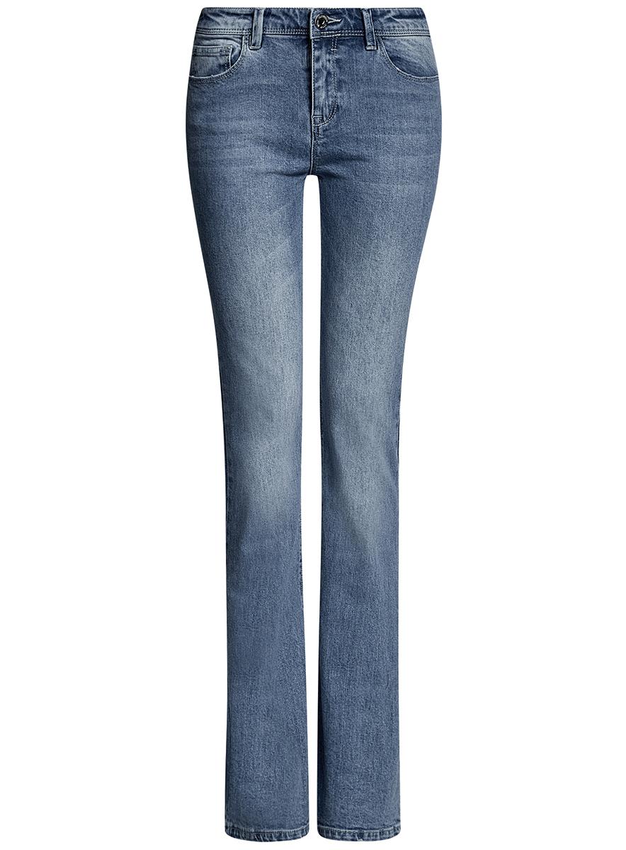 Джинсы женские oodji Ultra, цвет: голубой джинс. 12102080/46341/7000W. Размер 27-30 (44-30)12102080/46341/7000WЖенские джинсы клеш oodji Ultra выполнены из высококачественного материала. Модель средней посадки по поясу застегивается на пуговицу и имеют ширинку на застежке-молнии, а также шлевки для ремня. Джинсы имеют спереди - два втачных кармана, а сзади - два накладных кармана.