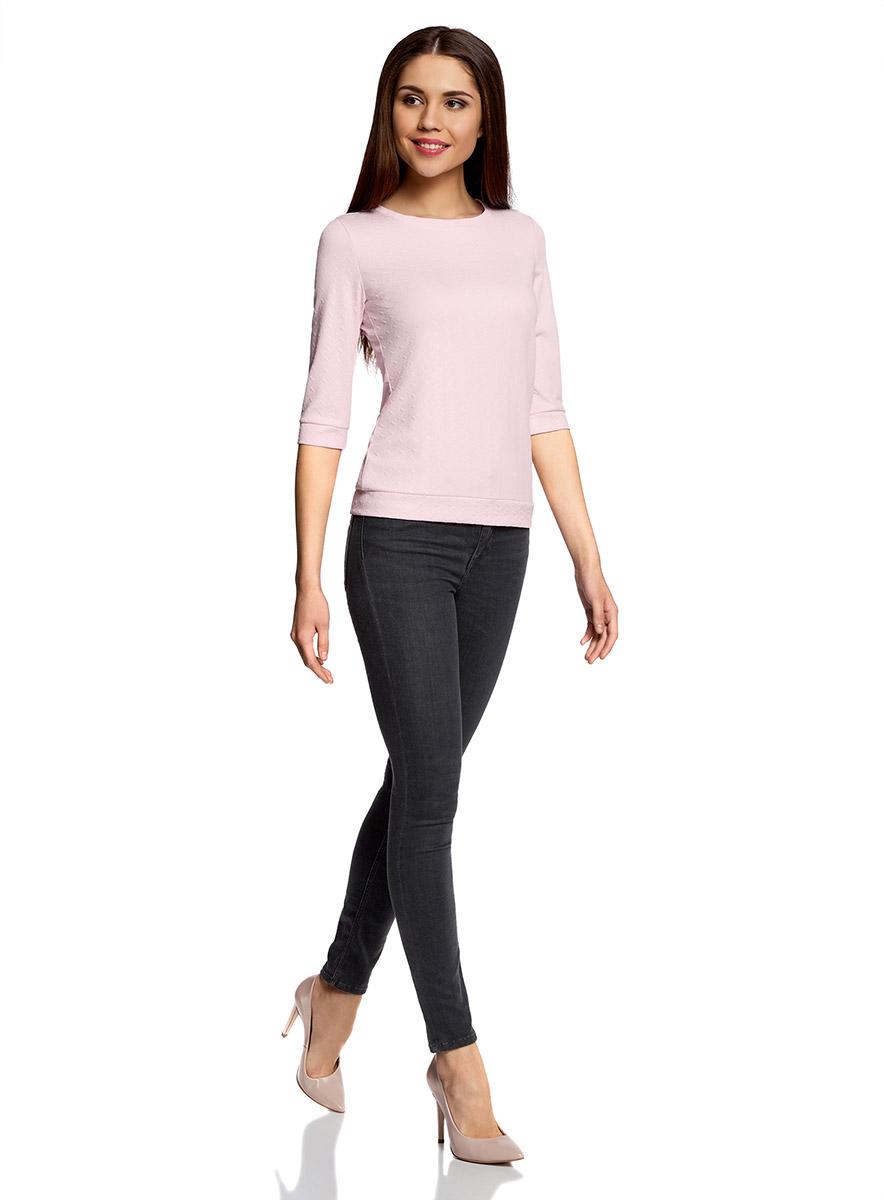 Джемпер женский oodji Ultra, цвет: светло-розовый. 14801021-6/42588/4000N. Размер XL (50)14801021-6/42588/4000NДжемпер с круглым врезом горловины и рукавами 3/4 выполнен из высококачественного материала.