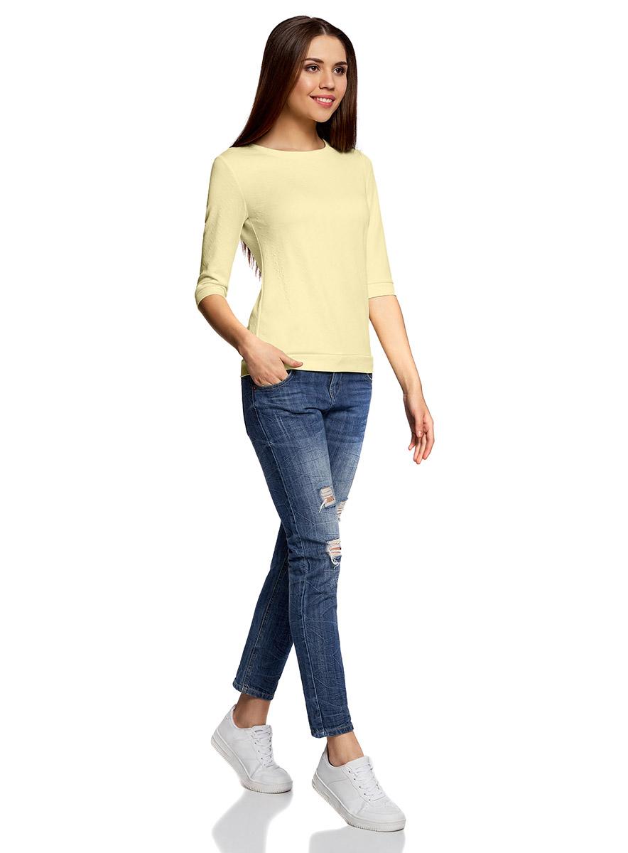 Джемпер женский oodji Ultra, цвет: светло-желтый. 14801021-6/42588/5000N. Размер XS (42)14801021-6/42588/5000NДжемпер с круглым врезом горловины и рукавами 3/4 выполнен из высококачественного материала.