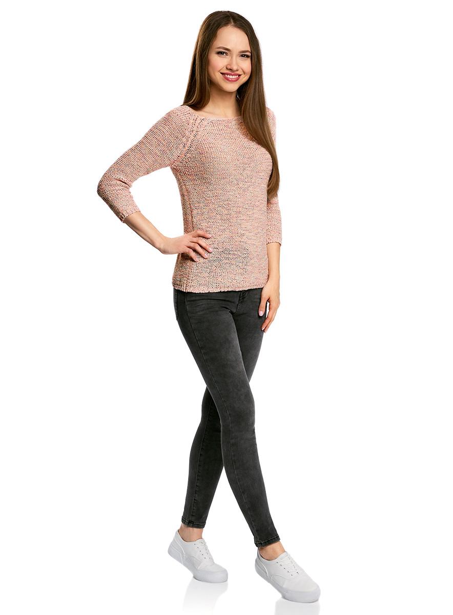 Джемпер женский oodji Ultra, цвет: мультиколор, розовый. 63805300/42749/1941O. Размер XS (42)63805300/42749/1941OУютный женский джемпер с вырезом горловины лодочка и рукавами-реглан длиной 3/4 выполнен из ленточной пряжи.