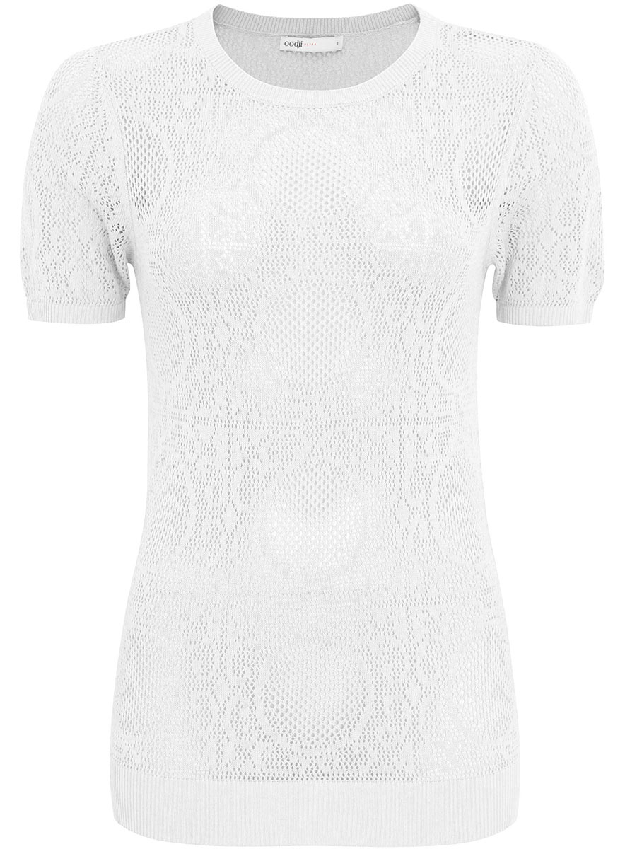 Джемпер женский oodji Ultra, цвет: белый. 63812537/42831/1000N. Размер XS (42)63812537/42831/1000NУютный женский джемпер с круглым вырезом горловины и короткими рукавами выполнен ажурной вязкой.