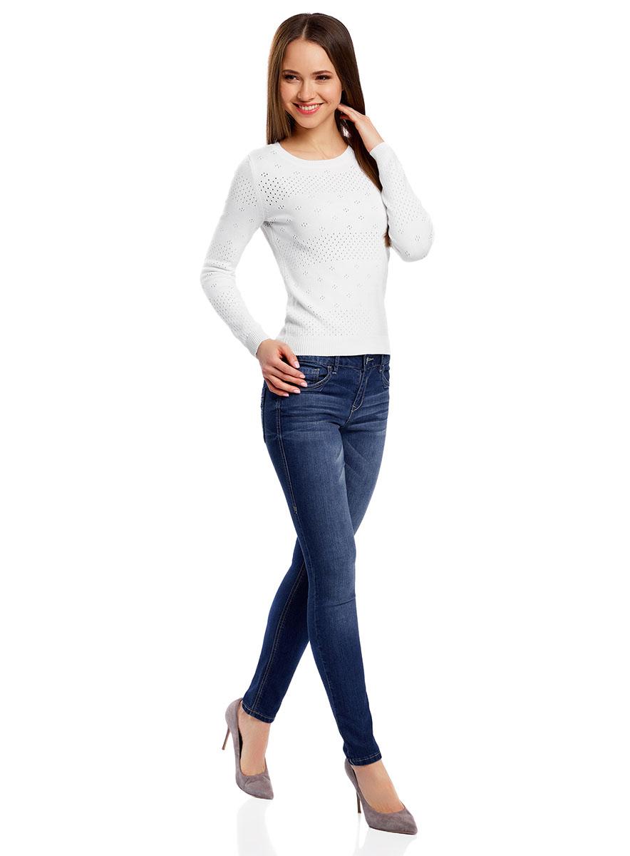 Джемпер женский oodji Ultra, цвет: белый. 63807312/46448/1000N. Размер L (48)63807312/46448/1000NУютный женский джемпер ажурной вязки с круглым вырезом горловины и длинными рукавами выполнен из вискозного материала.