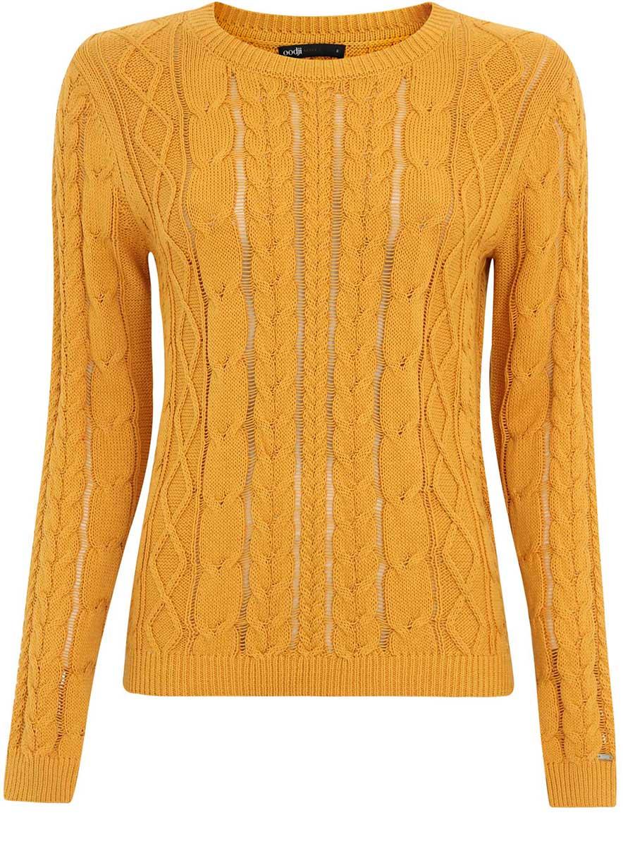 Джемпер женский oodji Ultra, цвет: желтый. 63807280/43064/5200N. Размер XXS (40)63807280/43064/5200NУютный женский джемпер с круглым вырезом горловины и длинными рукавами выполнен объемной вязкой.