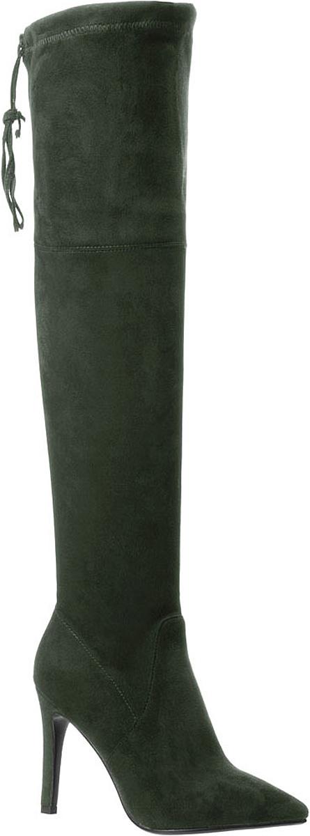 Ботфорты женские Betsy, цвет: темно-зеленый. 977825/01. Размер 40977825/01-03Ботфорты Betsy выполнены из искусственной замши и оформлены прострочкой. На ноге модель фиксируется с помощью застежки-молнии. Объем верхней части изменятся с помощью шнурка. Внутренняя поверхность выполнена из байки, которая обеспечит комфорт при движении. Подошва изготовлена из прочного ТЭП-материала и оснащена высоким каблуком-шпилькой. Поверхность подошвы дополнена рифлением.