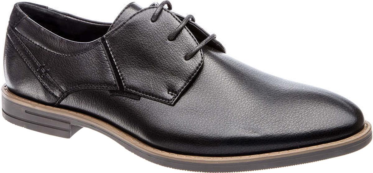 Туфли мужские Tesoro, цвет: черный. 177034/01-01. Размер 40177034/01-01Мужские туфли Tesoro выполнены из искусственной кожи. На ноге модель фиксируется с помощью шнурков. Внутренняя поверхность из натуральной кожи и текстиля комфортна при движении. Стелька исполнена из натуральной кожи. Подошва изготовлена из прочного полимера и дополнена рельефным рисунком.