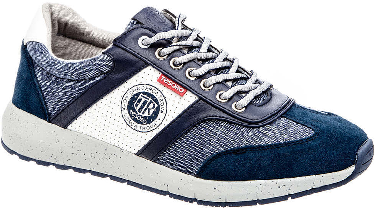 Кроссовки мужские Tesoro, цвет: темно-синий, белый. 177114/04-01. Размер 40177114/04-01Мужские кроссовки Tesoro выполнены из текстиля и дополнены вставками из искусственной кожи, перфорацией по бокам и символикой бренда. На ноге модель фиксируется с помощью шнурков. Внутренняя поверхность из текстиля комфортна при движении. Стелька исполнена из текстиля. Подошва изготовлена из прочного полимера и дополнена рельефным рисунком.