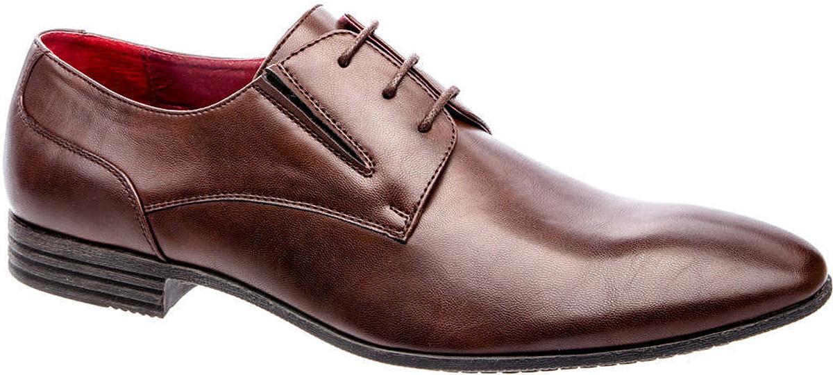 Туфли мужские Tesoro, цвет: шоколадный. 177134/01-02. Размер 43177134/01-02Мужские туфли Tesoro выполнены из искусственной кожи и дополнены эластичными вставками по бокам. На ноге модель фиксируется с помощью шнурков. Внутренняя поверхность из натуральной кожи и текстиля комфортна при движении. Стелька исполнена из натуральной кожи. Подошва изготовлена из прочного полимера и дополнена рельефным рисунком.