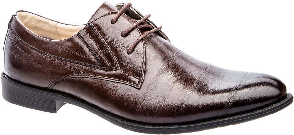 Туфли мужские Tesoro, цвет: шоколадный. 177214/01-02. Размер 45177214/01-02Мужские туфли Tesoro выполнены из искусственной кожи. На ноге модель фиксируется с помощью шнурков. Внутренняя поверхность из натуральной кожи и текстиля комфортна при движении. Стелька исполнена из натуральной кожи. Подошва изготовлена из прочного полимера и дополнена рельефным рисунком.