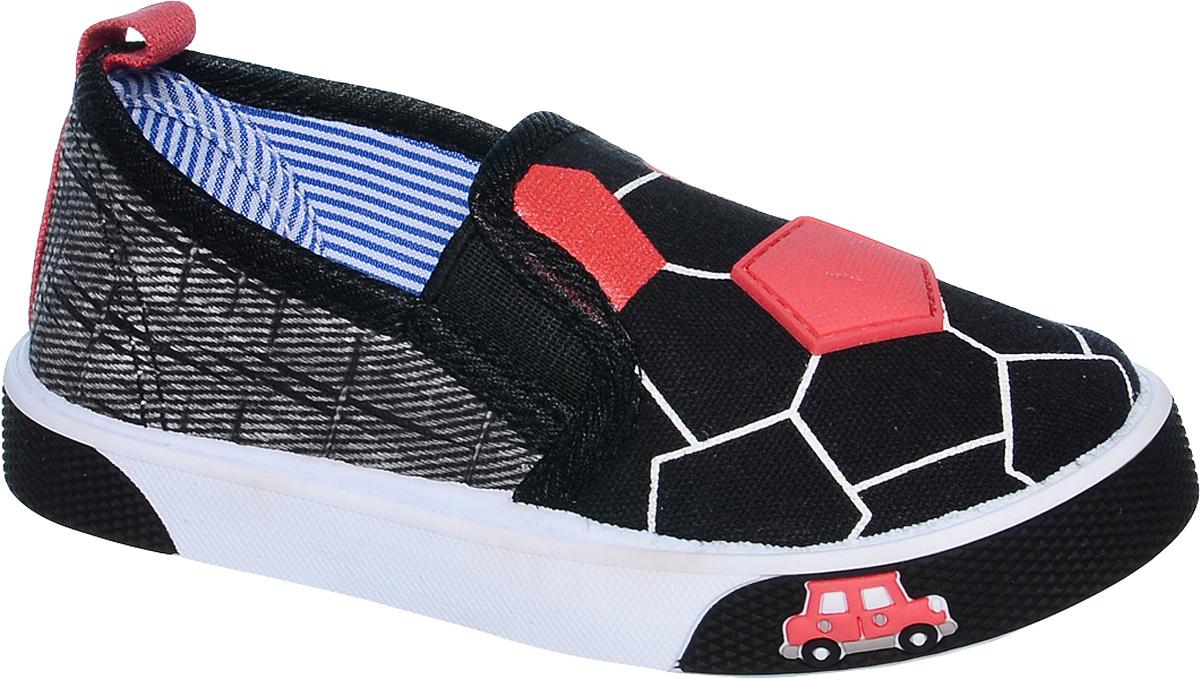 Слипоны для мальчика Tom&Miki, цвет: черный. B-0914. Размер 22B-0914Стильные слипоны от Tom&Miki придутся по душе вашему юному моднику. Модель выполнена из качественного текстиля и дополнена декоративными элементами. На заднике предусмотрена петелька для удобства обувания. Резинки, расположенные на подъеме, отвечают за комфортную посадку модели на ноге. Подкладка и стелька из текстиля обеспечивают комфорт при носке. Гибкая мягкая подошва обеспечивает идеальное сцепление с разными поверхностями.
