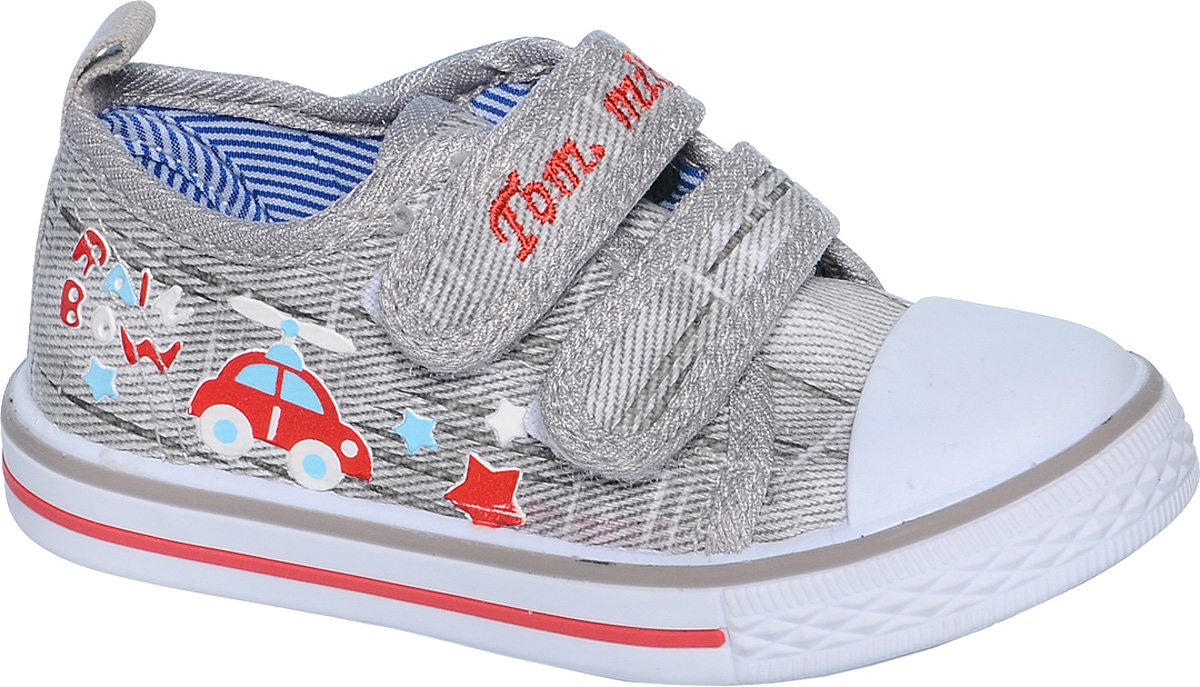 Кеды для мальчика Tom&Miki, цвет: светло-серый. B-0918. Размер 21B-0918Кеды для мальчика Tom&Miki изготовлены из качественного текстиля. Модель оформлена оригинальным принтом и дополнена на мыске практичной прорезиненной накладкой. Липучки надежно зафиксируют обувь на ноге. Мягкая подкладка выполнена из кожи и текстиля. Такие кеды - отличный вариант на каждый день.