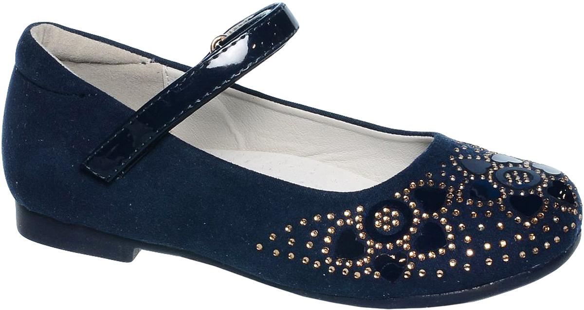 Туфли для девочки Tom&Miki, цвет: темно-синий. B-1013. Размер 26B-1013-AСтильные туфли для девочки Tom&Miki выполнены из качественной искусственной кожи. Ремешок с липучкой обеспечит оптимальную посадку модели на ноге. Кожаная стелька с супинатором придаст максимальный комфорт при движении. Носки обуви оформлены стразами.