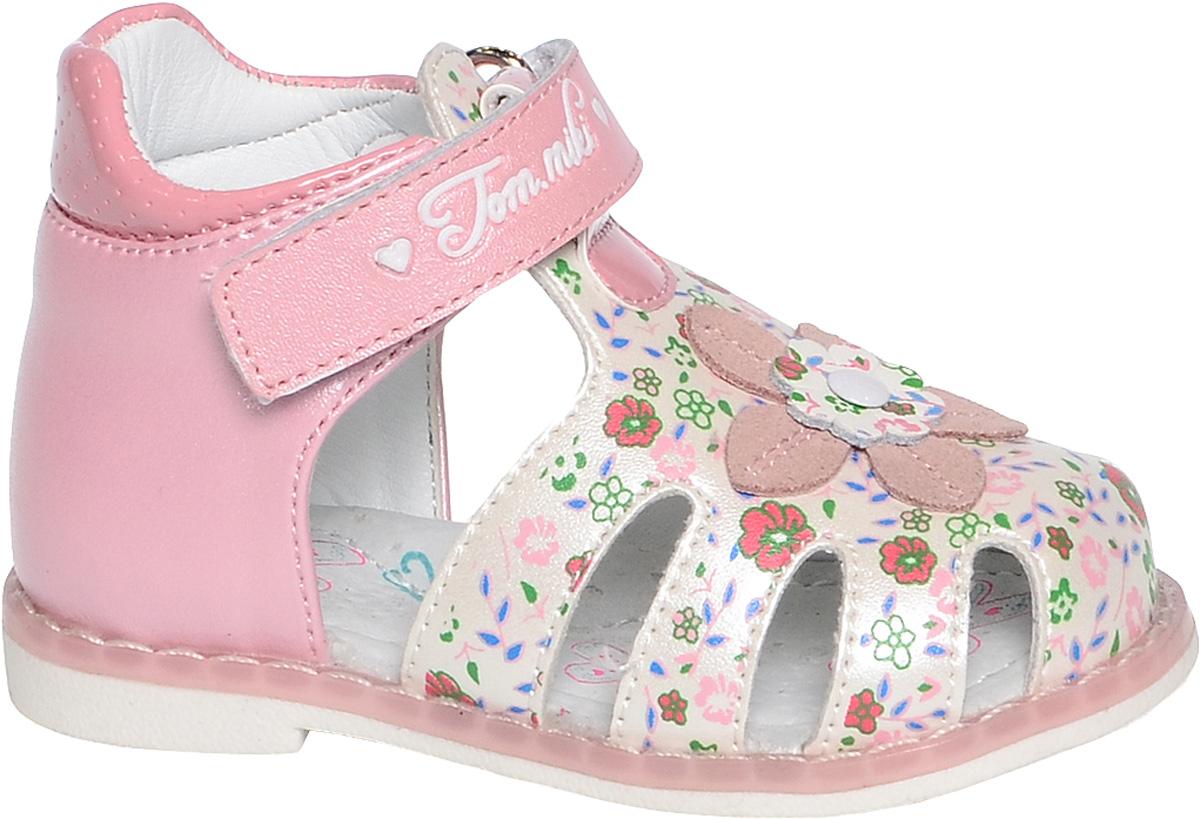 Сандалии для девочки Tom&Miki, цвет: розовый. B-1120. Размер 22B-1120-AУдобные и красивые сандалии от Tom&Miki придутся по душе вашей девочке. Модель выполнена из качественной комбинированной кожи. Внутренняя часть и стелька изготовлены из натуральной кожи. Ремешок с застежкой-липучкой прочно закрепит модель на ножке.