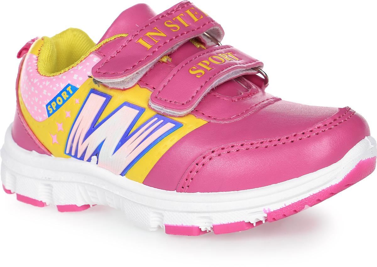 Кроссовки для девочки In Step, цвет: розовый, желтый. HF025-1. Размер 29HF025-1Кроссовки In Step, выполненные из искусственной кожи, оформлены декоративным тиснением и оригинальным принтом. На ноге модель фиксируется с помощью двух ремешков с застежками-липучками, оформленными фирменными надписями. Ярлычок на заднике облегчит надевание модели. Внутренняя поверхность из сетчатого текстиля комфортна при движении. Стелька выполнена из легкого ЭВА-материала с поверхностью из текстиля. Подошва изготовлена из ЭВА-материала с элементами из полимера. Поверхность подошвы дополнена протектором.