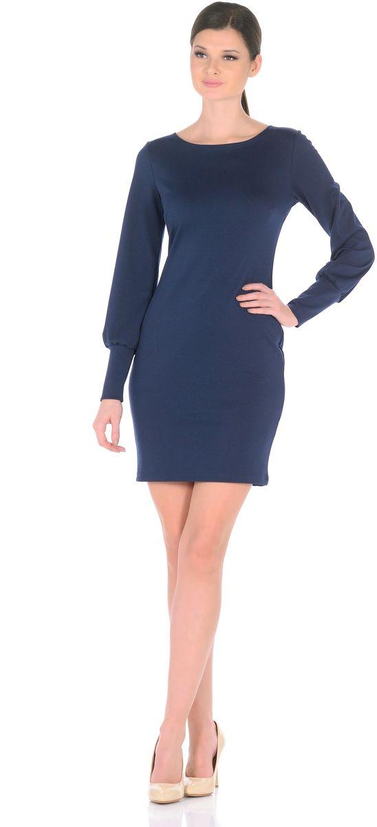 Платье Rosa Blanco, цвет: темно-синий. 3187-11. Размер 463187-11Модное платье Rosa Blanco станет отличным дополнением к вашему гардеробу. Модель изготовлена из сочетания качественных материалов. Платье-миди приталенного силуэта выполнено с классическим вырезом-лодочка и длинными рукавами.Рукава дополнены широкими контрастными манжетами. Модель не имеет застежек. Платье приобретает особый шарм благодаря вытачки в области груди.