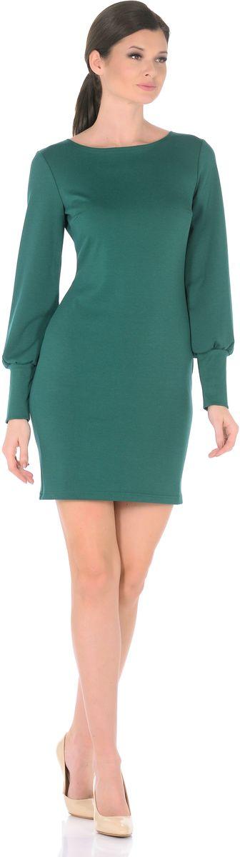 Платье Rosa Blanco, цвет: темно-зеленый. 3187-51. Размер 483187-51Модное платье Rosa Blanco станет отличным дополнением к вашему гардеробу. Модель изготовлена из сочетания качественных материалов. Платье-миди приталенного силуэта выполнено с классическим вырезом-лодочка и длинными рукавами.Рукава дополнены широкими контрастными манжетами. Модель не имеет застежек. Платье приобретает особый шарм благодаря вытачки в области груди.